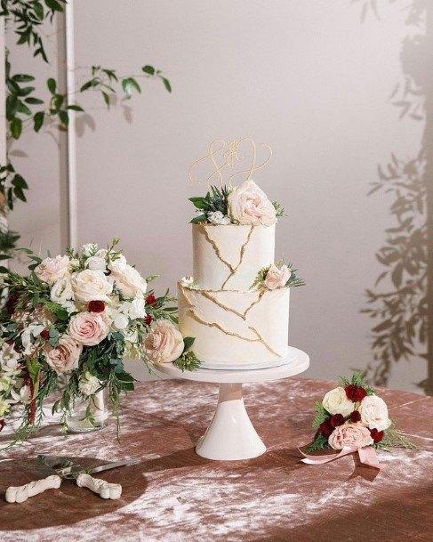Golden Marble Texture 2 Tier Wedding Cake