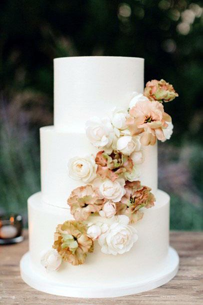 Golden November Wedding Flower Decor Cake