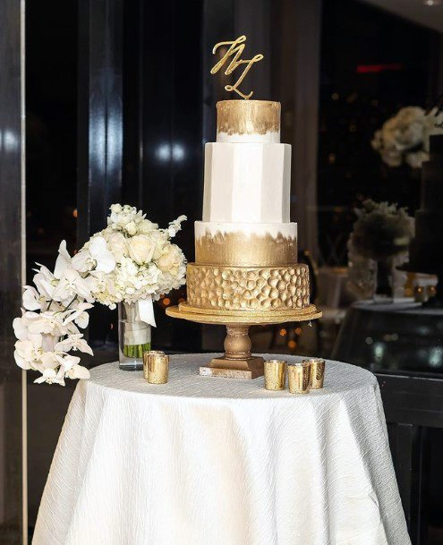 Golden Octagen Wedding Cake