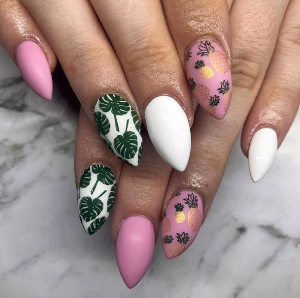 Golden Pineapple Stickers Tropical Nails Women