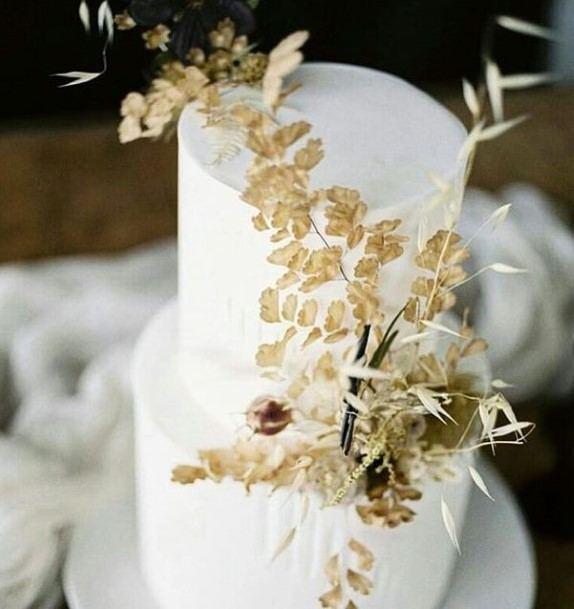 Golden Plants Beautiful Wedding Cakes