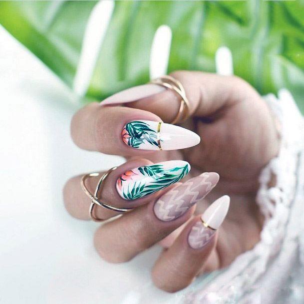 Golden Ring Green Tropical Nails Women