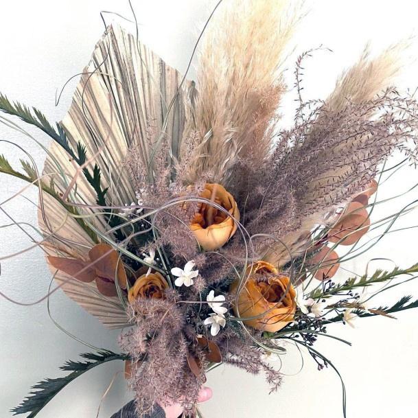 Golden Rose And Light Stalks Boho Wedding Flowers