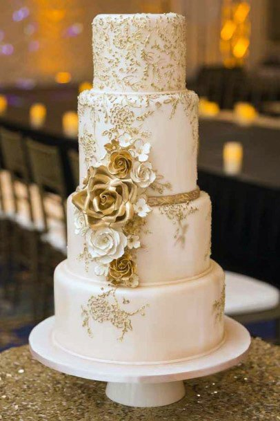 Golden Rose Wedding Cake