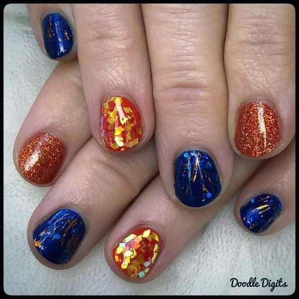 Golden Sequins Shiny Blue And Orange Nails For Women