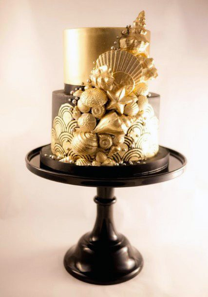 Golden Shells Wedding Cake