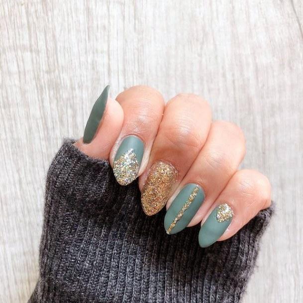 Golden Shine On Green Nails Women