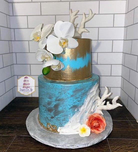 Golden Smearings Beach Wedding Cake Women