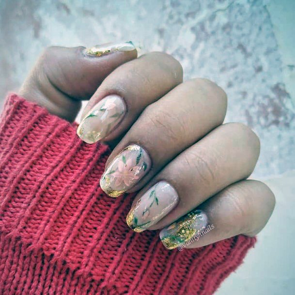 Golden Sparkles Natural Nail Ideas For Women