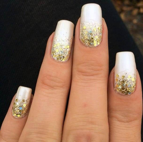 Golden Sparkles On White Ombre Nails Women