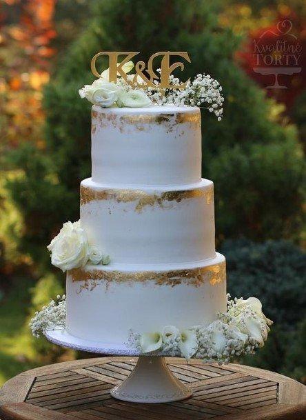 Golden Tint White Buttercream Wedding Cake