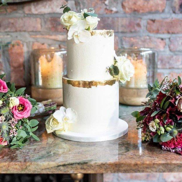 Golden Tinted 2 Tier Wedding Cake