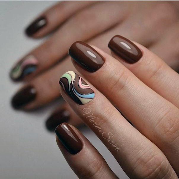 Gooey Chocolate Colored Nails With Colored Curls Women