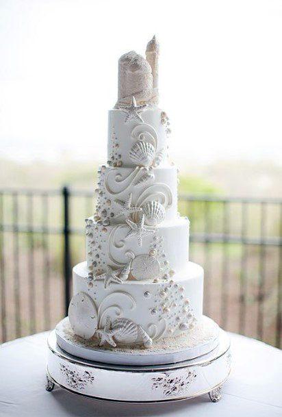 Gorgeous Beach Themed White With Starfish Wedding Cake Ideas