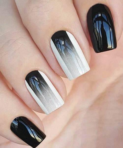 Gorgeous Black White Ombre Nails Women