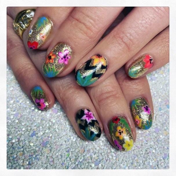 Gorgeous Floral Tropical Nails Women