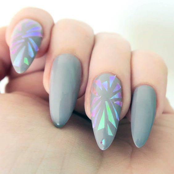 Gorgeous Gray Glass Nails For Women