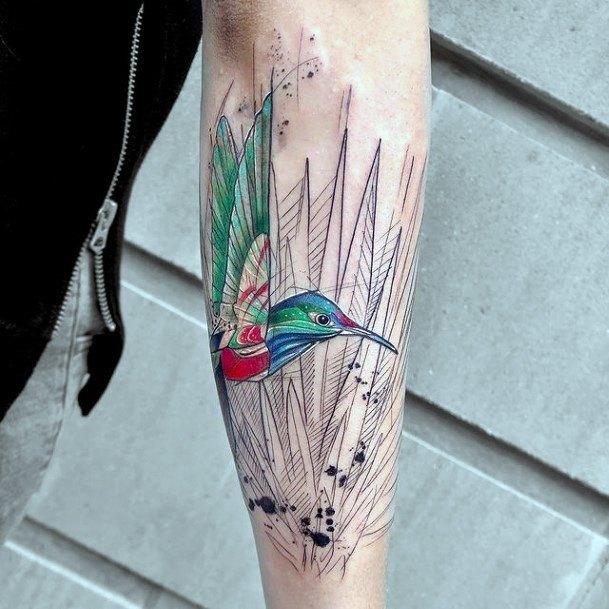 Gorgeous Green Hummingbird And Grass Tattoo Womens Hands