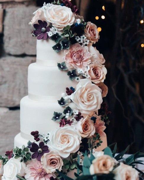 Gorgeous Large Roses Cascading Design Wedding Cake Ideas