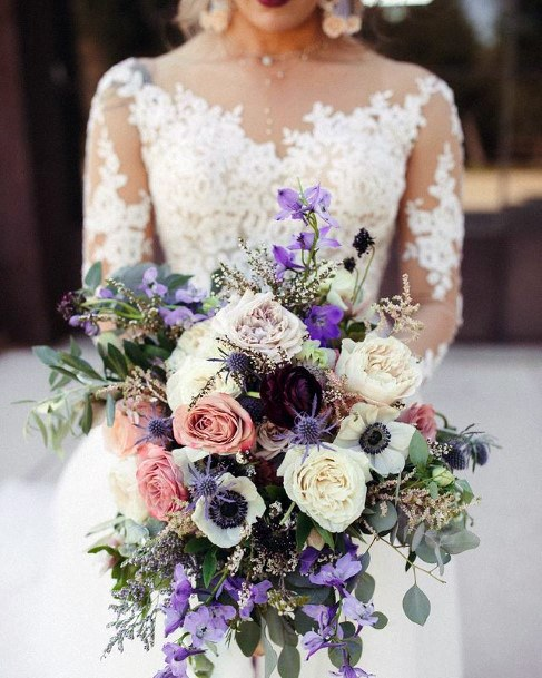Gorgeous Lavender And White Rose Bouquet Wedding