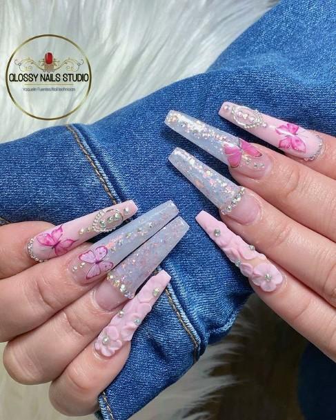 Gorgeous Long Nails Womens 3d Flowers