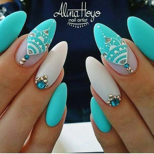 Gorgeous Mehendi White Art On Bright Blue Nails For Women