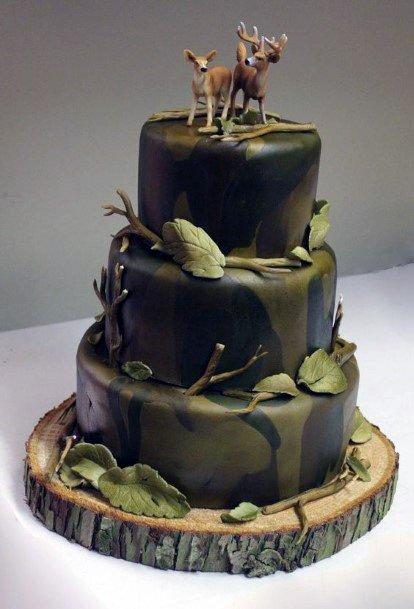 Gorgeous Olive Green Themed Camo Wedding Cake