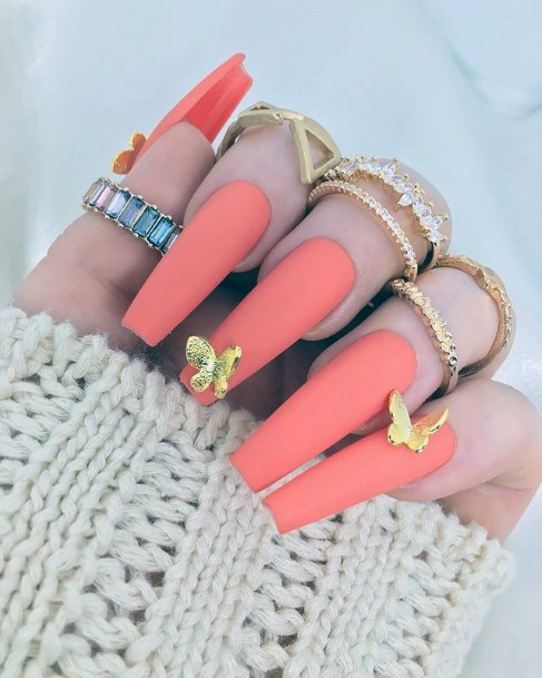 Gorgeous Peach April Nails Women With Gold Butterfly
