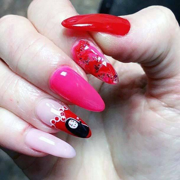 Gorgeous Pink And Red Nails For Women