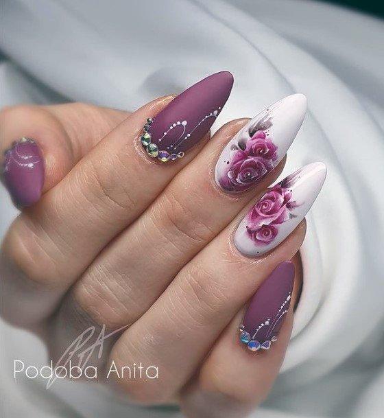 Gorgeous Purple Romantic Rose Nails Women