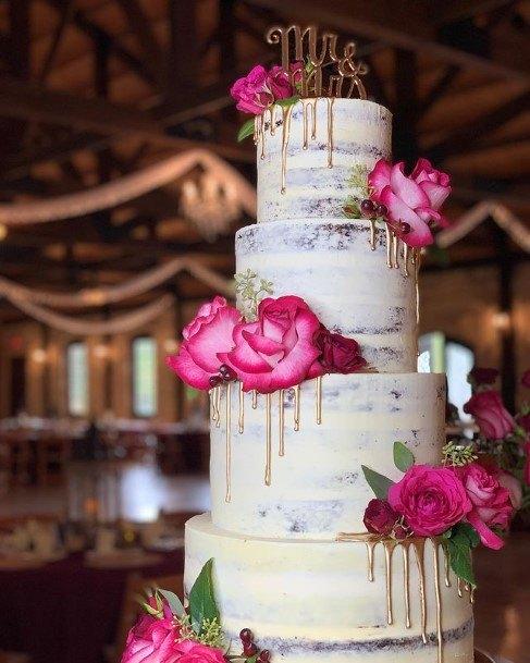 Gorgeous Roses On Chocolate Wedding Cake