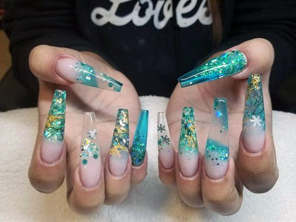 Gorgeous Sea Green And Blue Water Nails Women