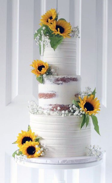 Gorgeous Sunflower Wedding Cakes Women