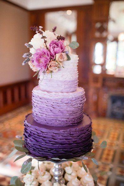 Gorgeous Swirls Purple Wedding Cake