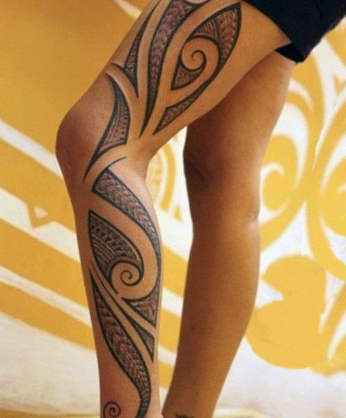 Gorgeous Tribal Tattoo For Women Legs