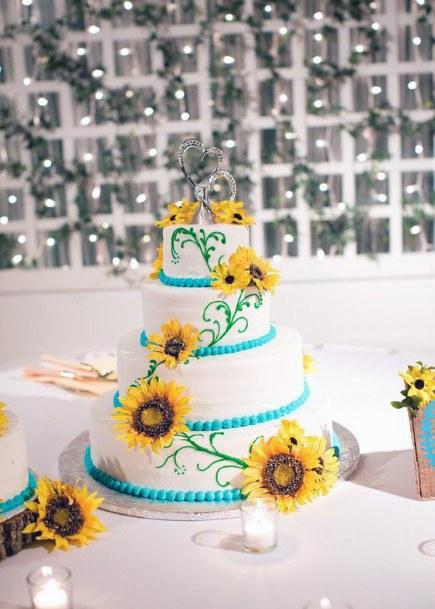 Gorgeous Wedding Cake Women With Sunflowers
