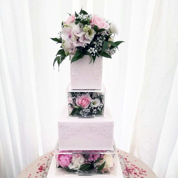 Gorgeous White And Flowered Square Wedding Cake