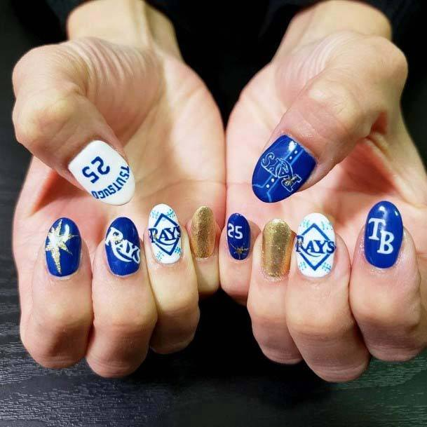 Gorgeous White Blue And Shining Gold Sport Nails For Women