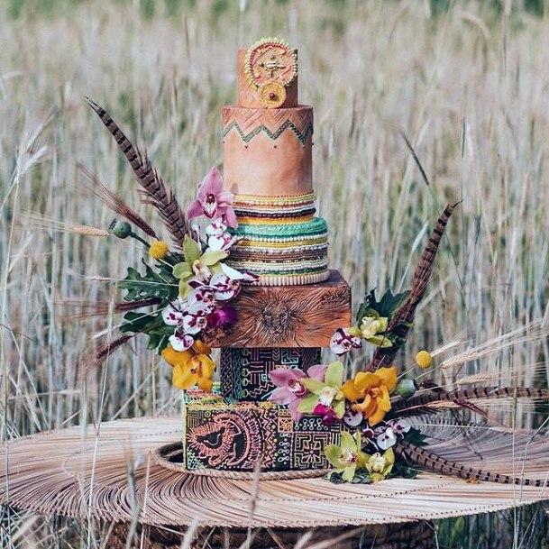 Gorgeous Woody Rustic Unique Wedding Cake