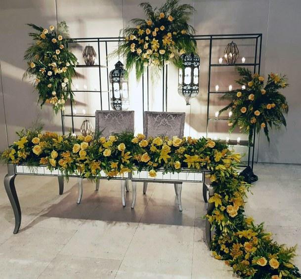 Gorgeous Yellow Green Wedding Flowers Table Runner