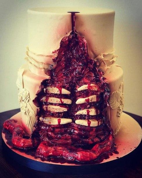 Gory Red White Halloween Wedding Cakes