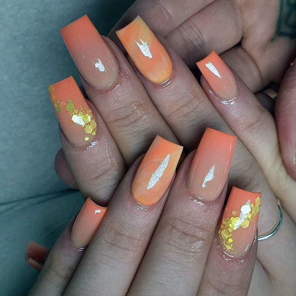 Gradient Orange And Gold Foil Nail Colors