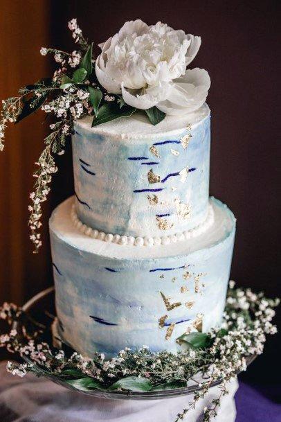 Grand Blue Tinted White Wedding Cake