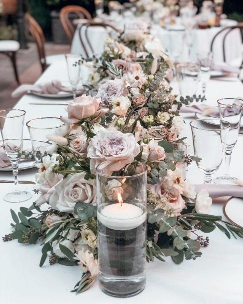 Grand Display Of Blush Flowes Wedding Table