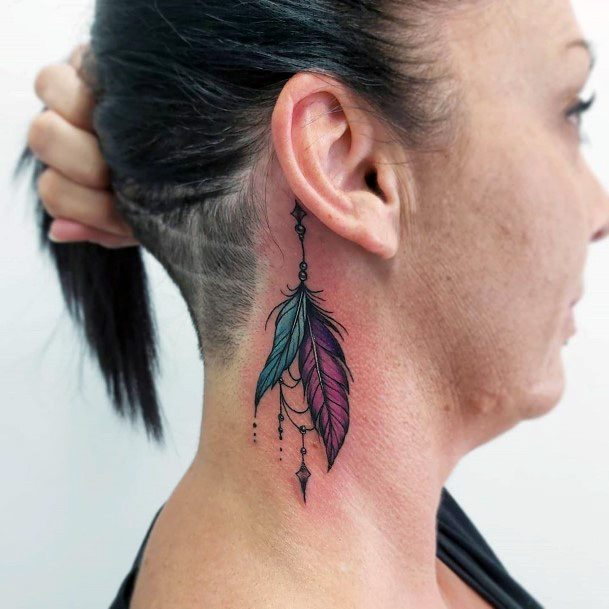 Grand Feather Tattoo Womens Upper Neck