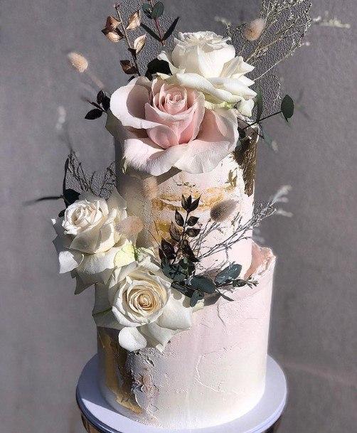 Grand Roses On White 2 Tier Cake
