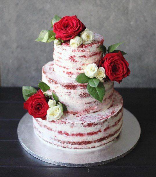 Grand Roses Red Velvet Wedding Cake