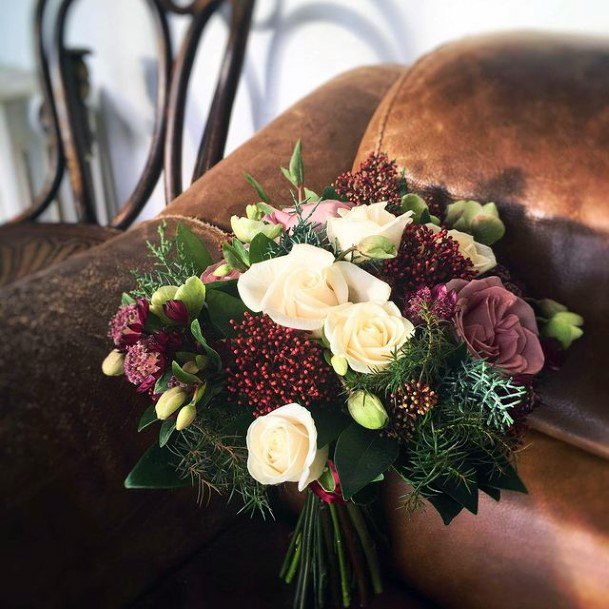 Grape Colored And White Roses Christmas Wedding Flowers