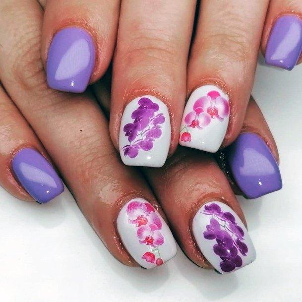 Grape Colored Orchid Nail Design