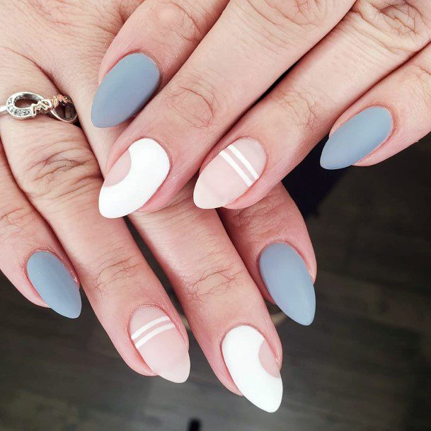 Gray White Matte Nails Colors